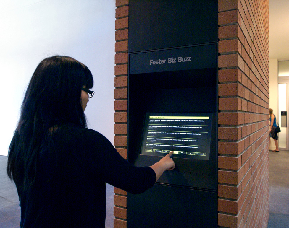 Foster Bizz Buzz kiosk in Paccar Hall.