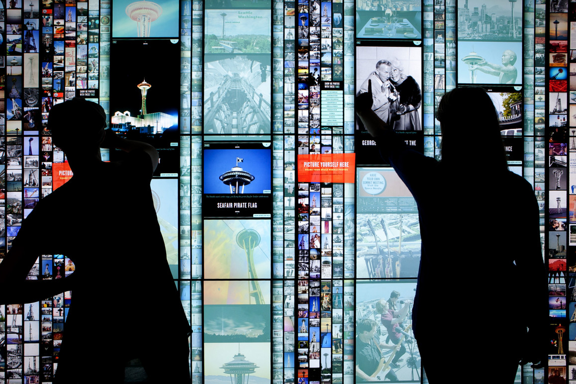 Visitors interact with multiple columns to explore a wealth of visual history.