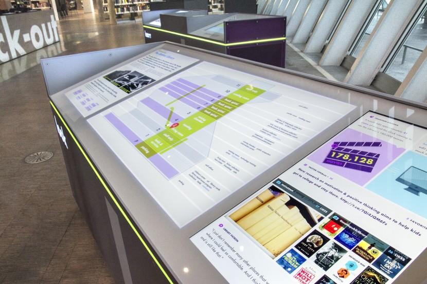 Maps, statistics, and social media feeds in the Visitor Center exhibit.