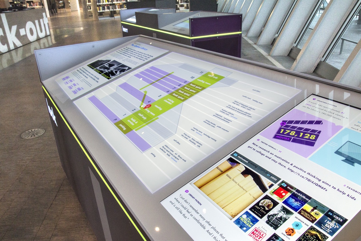 Look station back-lit orientation panels with dynamic animating content.