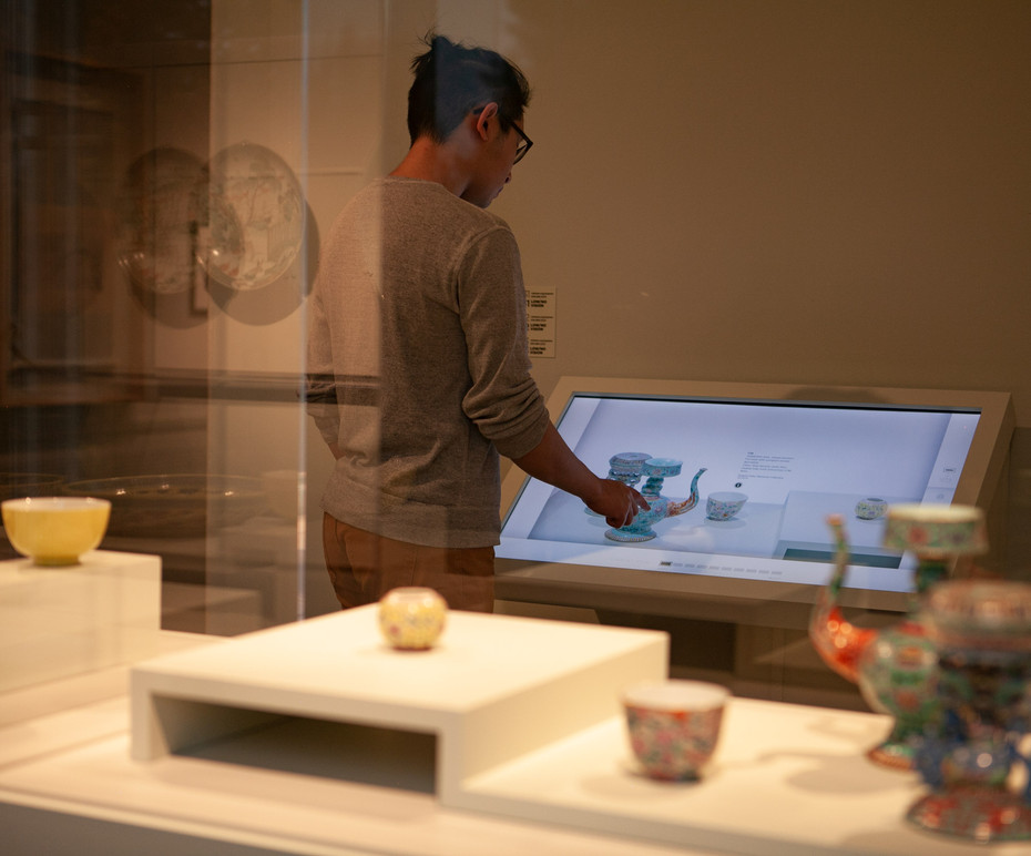 Juztaposition of physical and digital feels natural in the SAAM Ceramic Room.