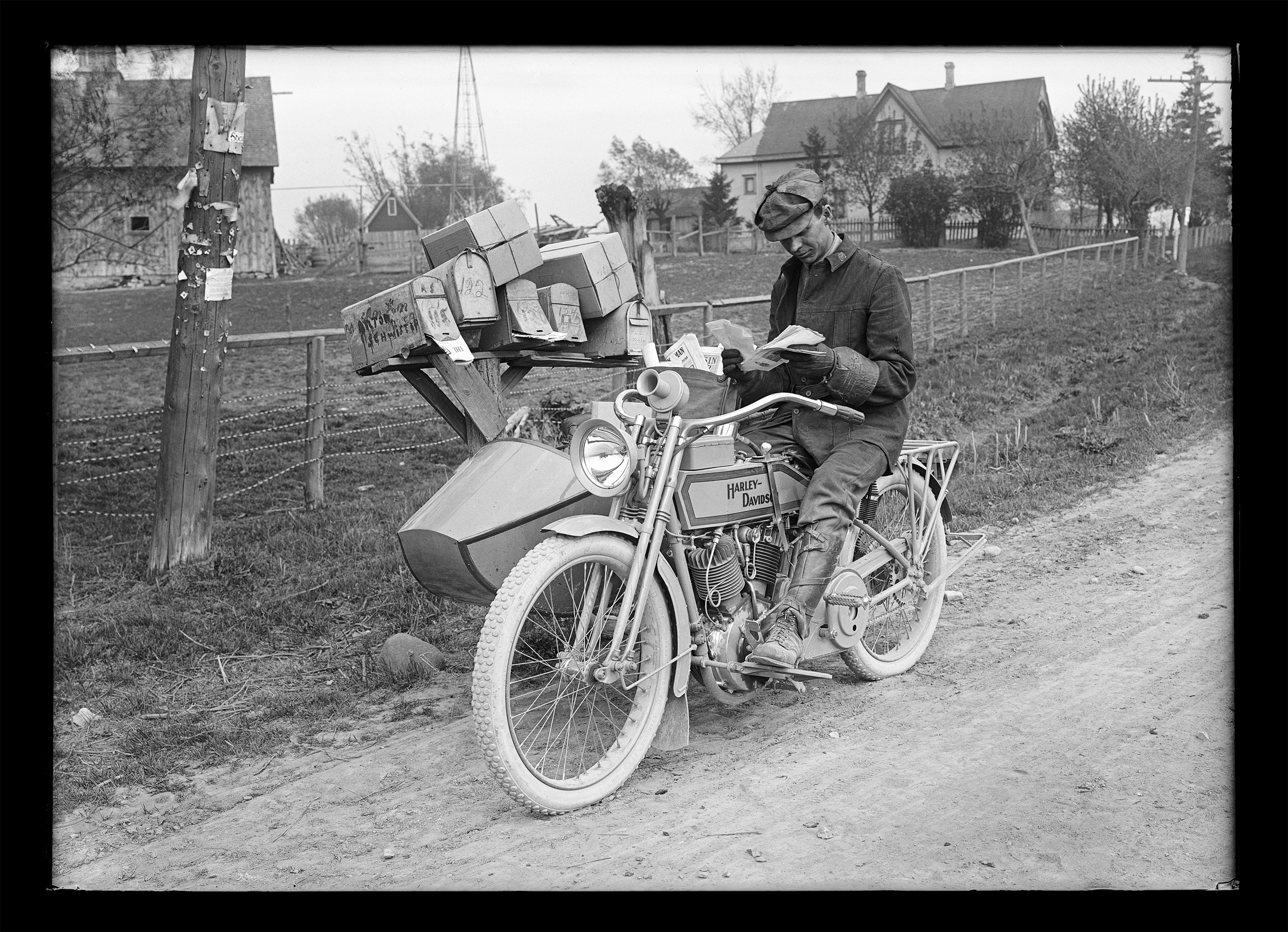 Sidecar rigs were a popular and practical choice for Rural Free Delivery.