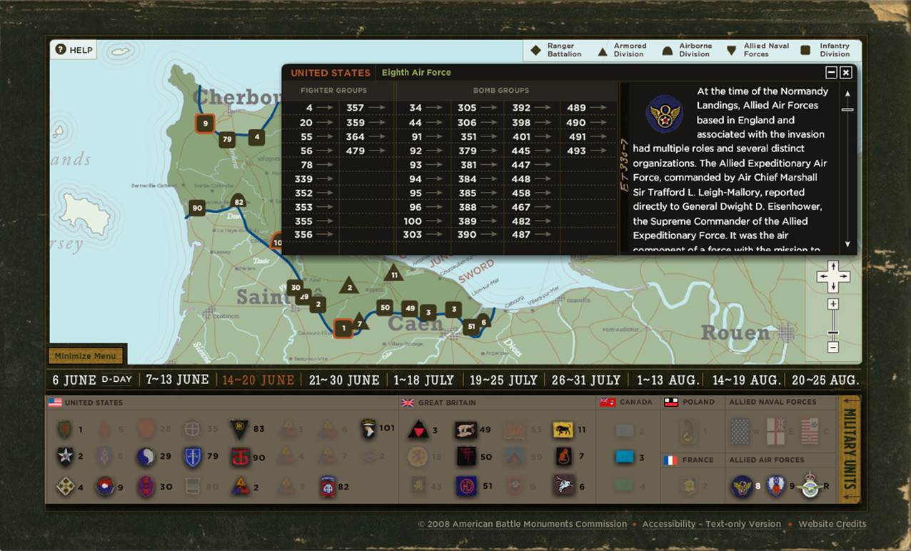 An overlay with detailed information about the selected unit.