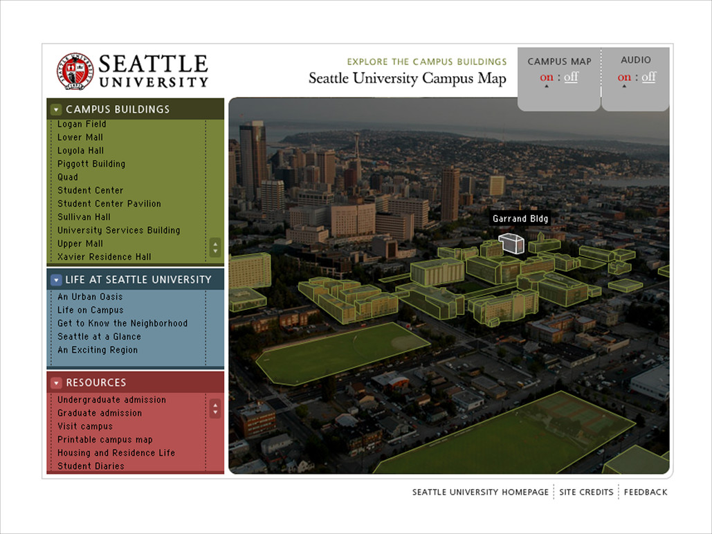 Campus map selected building.