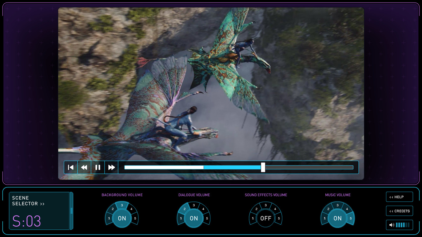 The sound designer allows you to explore the different layers of sound in the movie by turning certain aspects on and off, and adjusting their volume.