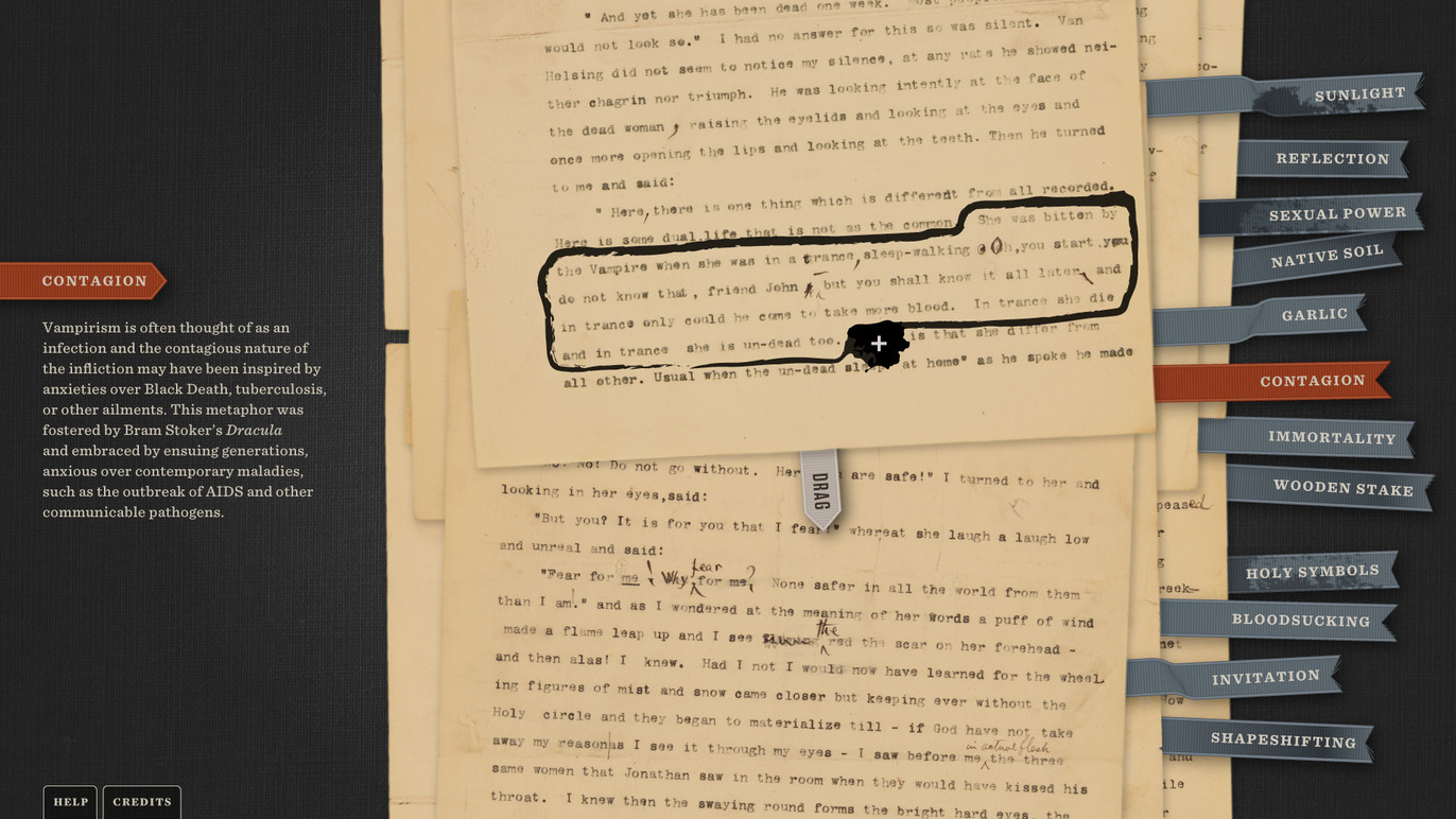 Key pages and passages from the original Stoker manuscript are shown and link to video content relating to the passage.