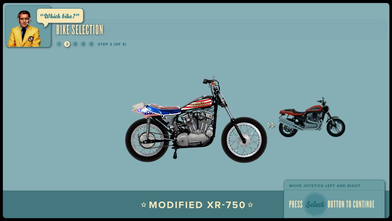 Bike selection screen.