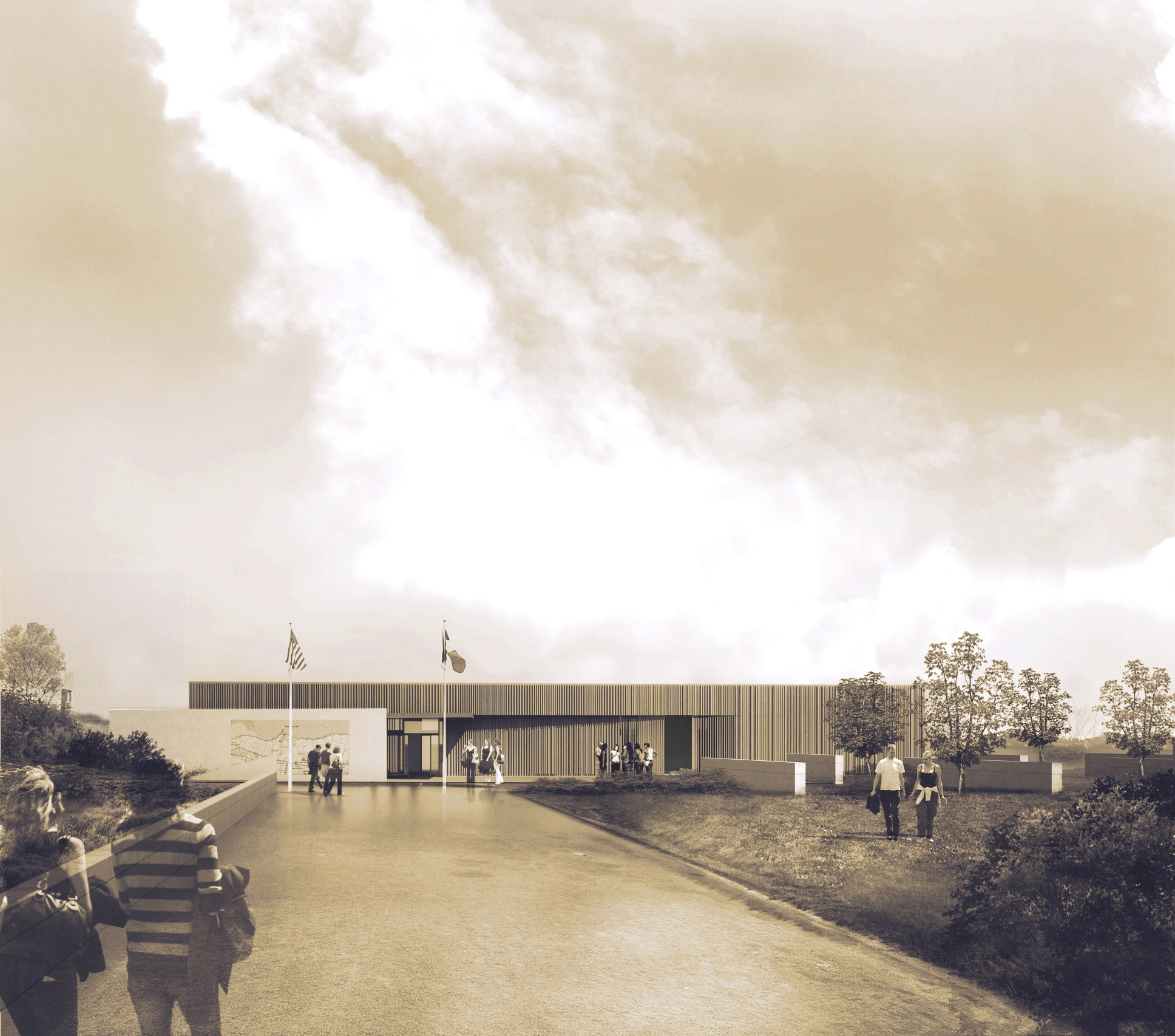 Rendering of walkway to the new visitor center at Pointe du Hoc