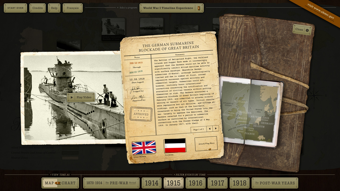 Event detail showing text overview, media player, and inset map.