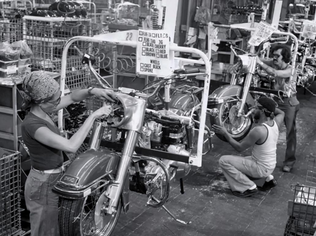Harley-Davidson assembly line.
