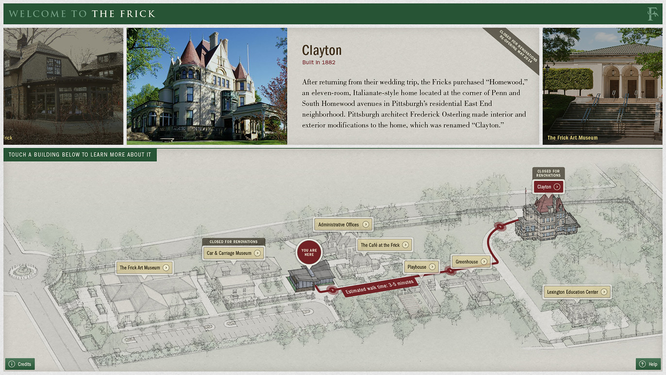 The Interactive Map showing the route and walking time from the Orientation Center to Clayton.
