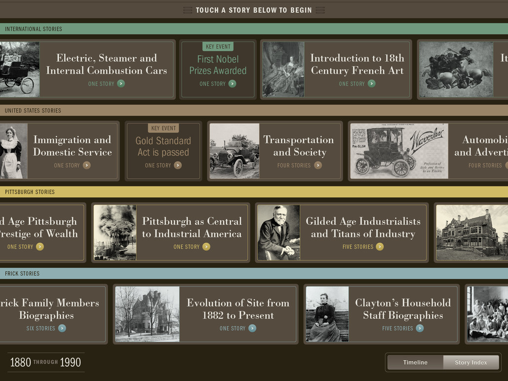 Stories are organized in two views; this represents the Timeline view.