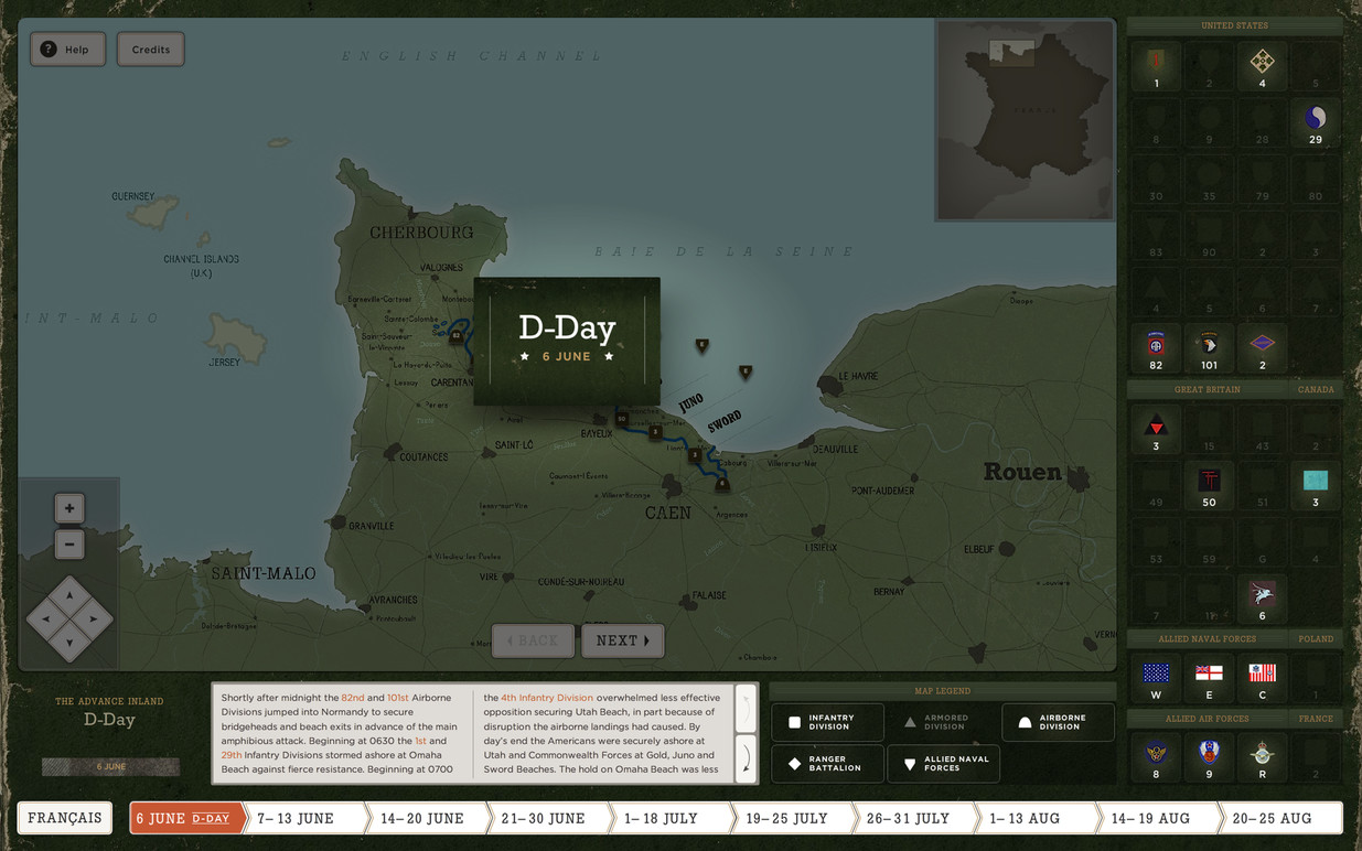 Map interface highlighting a key event.