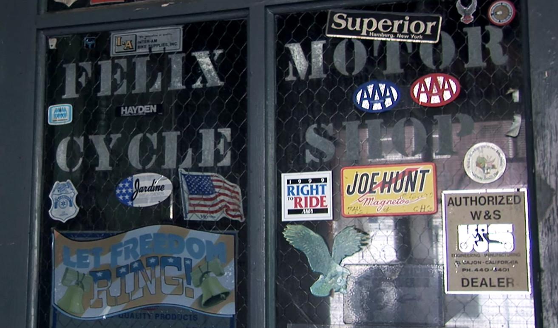 Felix Predko's motorcycle shop.