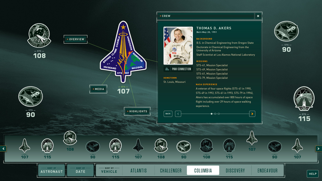 Missions database crew screen. When a person is selected, related missions raise in the bottom bar that relate to this crew member.