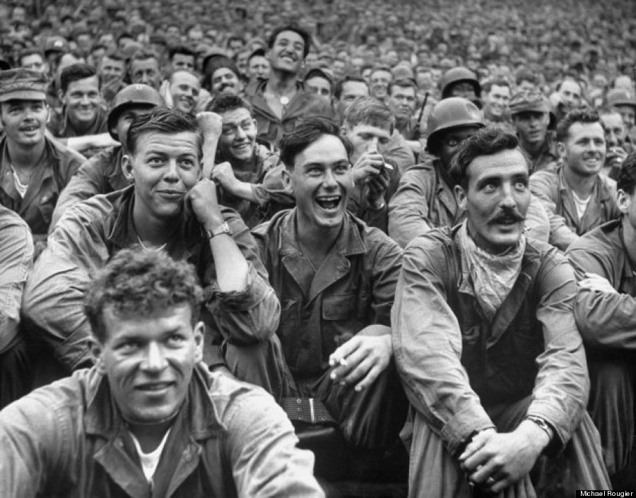 Troops enjoying Bob Hope
