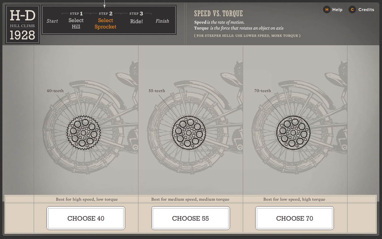 Sprocket selection screen.